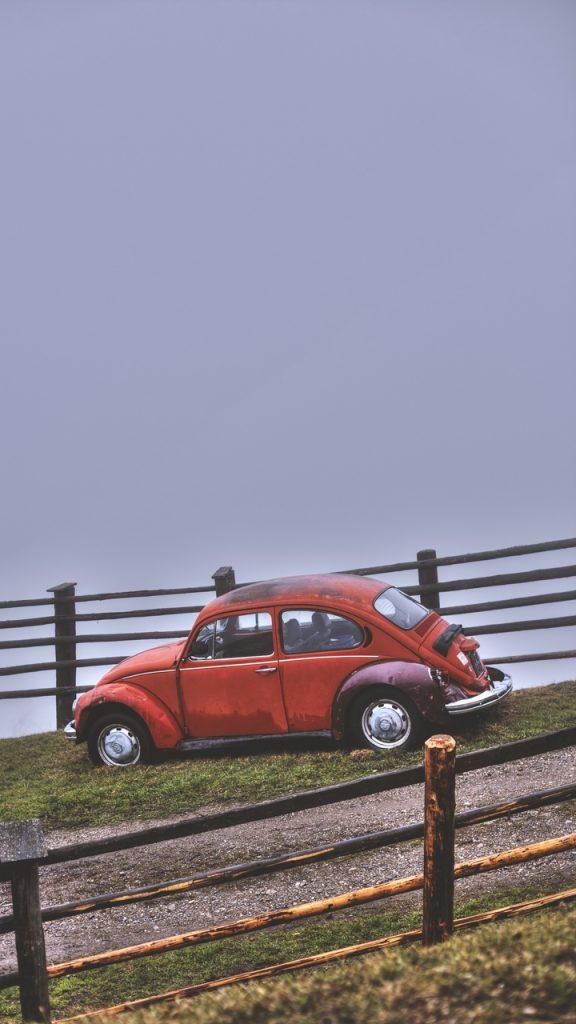 car retro red hillock fence 120446 720x1280 576x1024 - Pack Fondos de Pantalla de Coches Clasicos