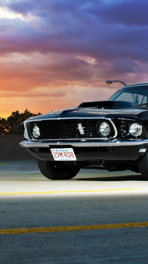 ford mustang 1969 black front view sunset classic cars 576x1024 - Pack Fondos de Pantalla de Coches Clasicos