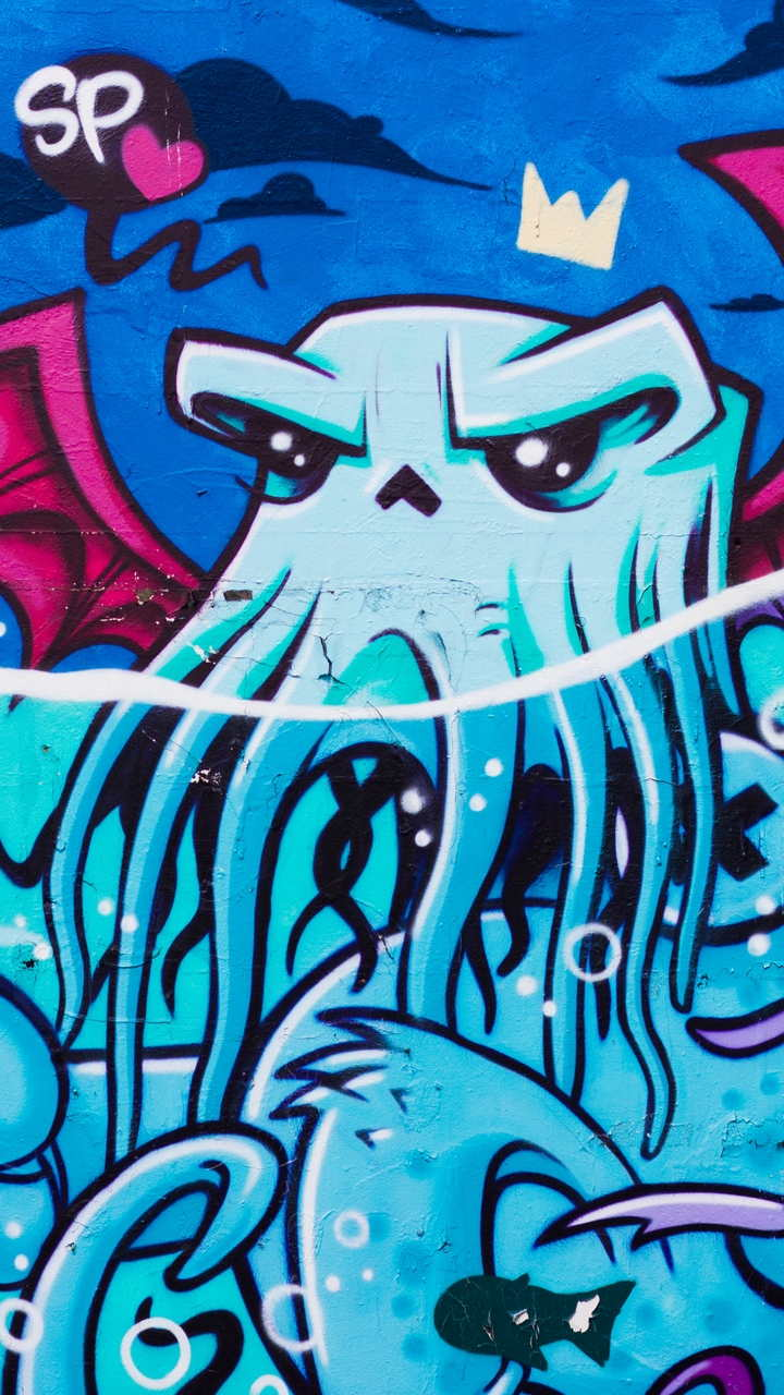 graffiti octopus street art 122657 720x1280 - Ghetto Wallpapers & Urban Art