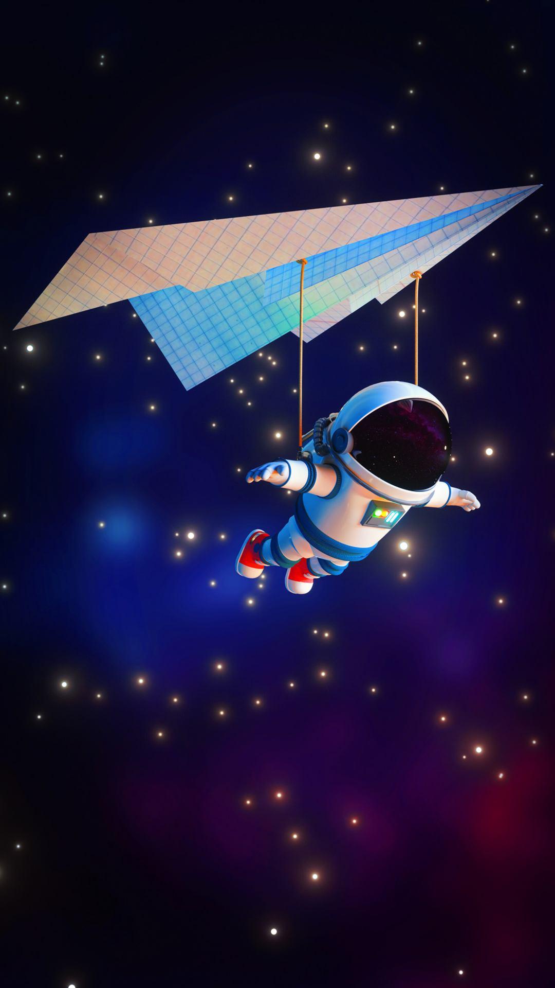 astronaut minimal 4k 8f 1080x1920 - Pack de Fondos de Pantalla Minimalistas (+100 Imagenes)