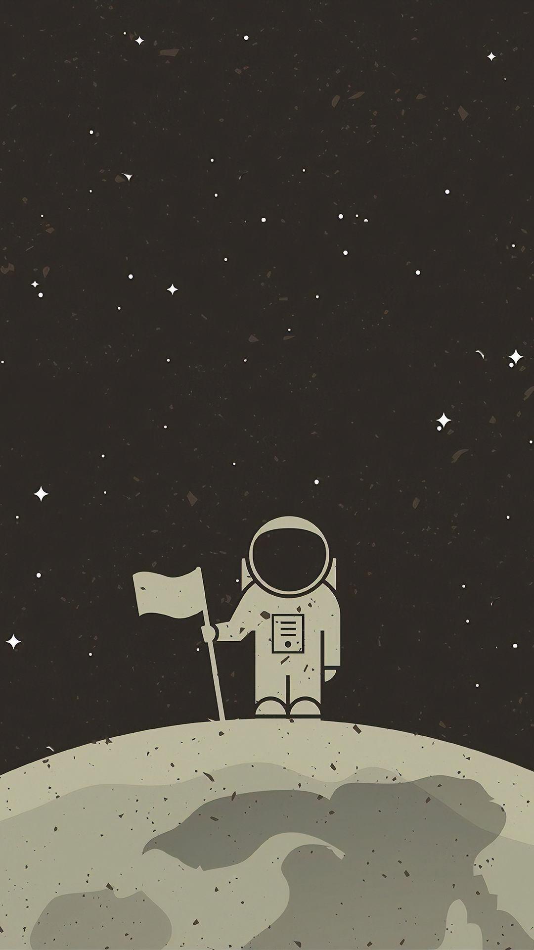 astronaut with flag digital art 4k xn 1080x1920 - Pack de Fondos de Pantalla Minimalistas (+100 Imagenes)