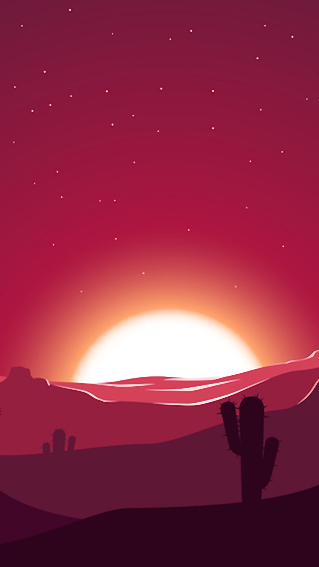 cactus sunset desert stars landscape silhouette eh 1080x1920 - Pack de Fondos de Pantalla Minimalistas (+100 Imagenes)