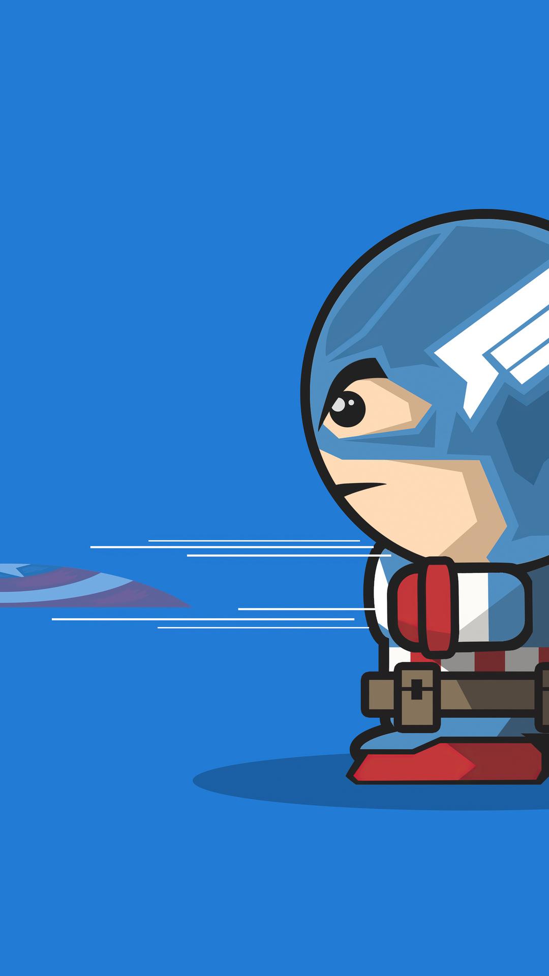 captain america cartoon minimal art 4k 3j 1080x1920 - Pack de Fondos de Pantalla Minimalistas (+100 Imagenes)