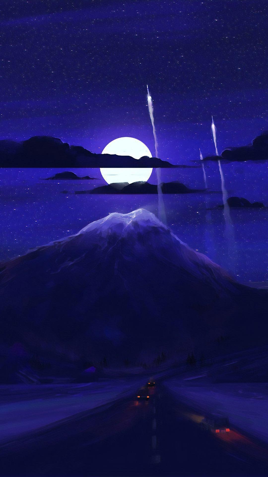 dark moon night minimal art d8 1080x1920 - Pack de Fondos de Pantalla Minimalistas (+100 Imagenes)