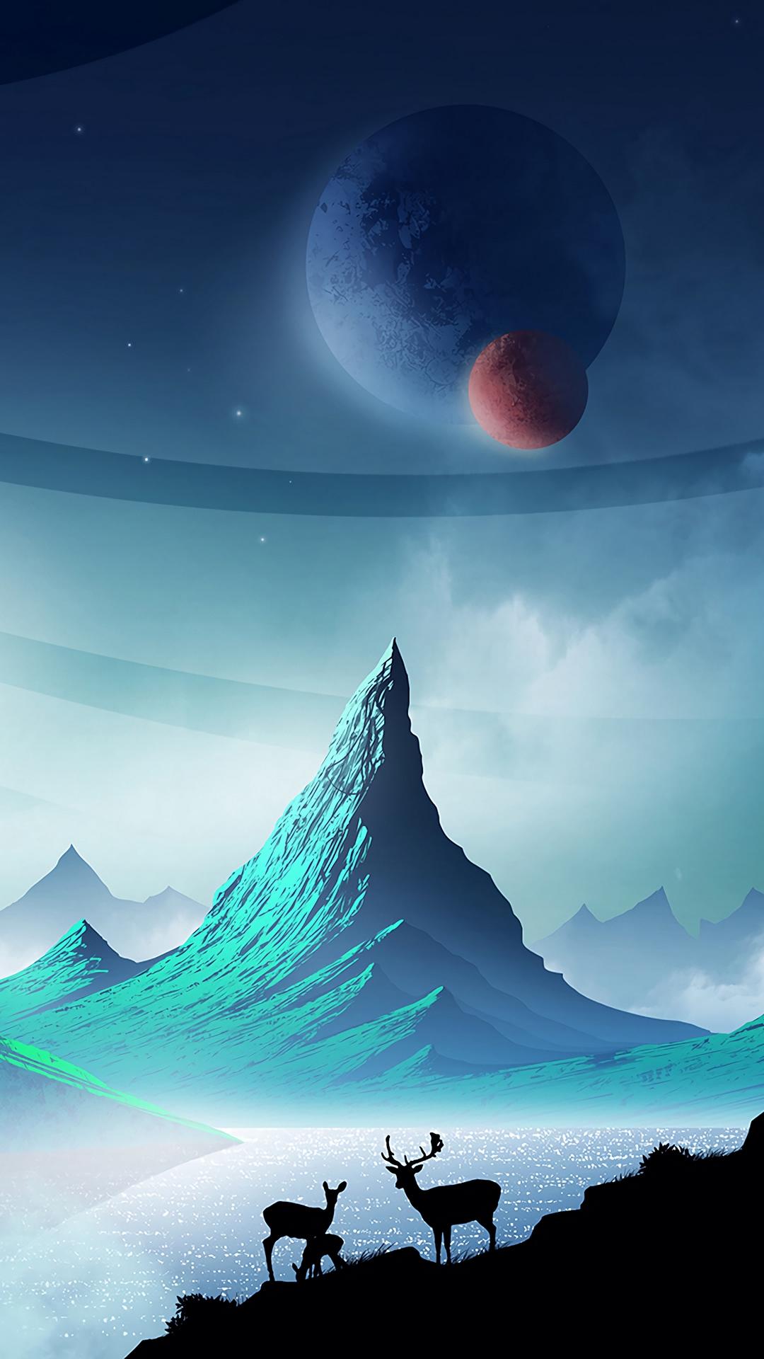deer mountains art 142079 1080x1920 - Pack de Fondos de Pantalla de Montañas