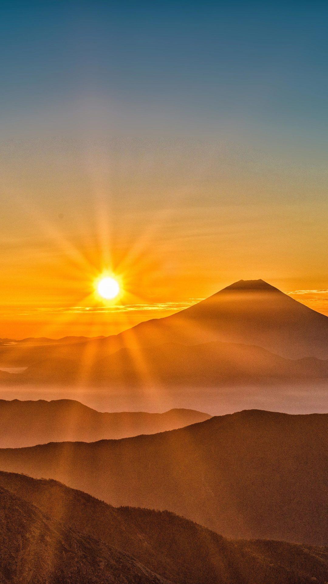 mount fuji morning sun rising 8k g1 1080x1920 1 - Pack de Fondos de Pantalla de Montañas