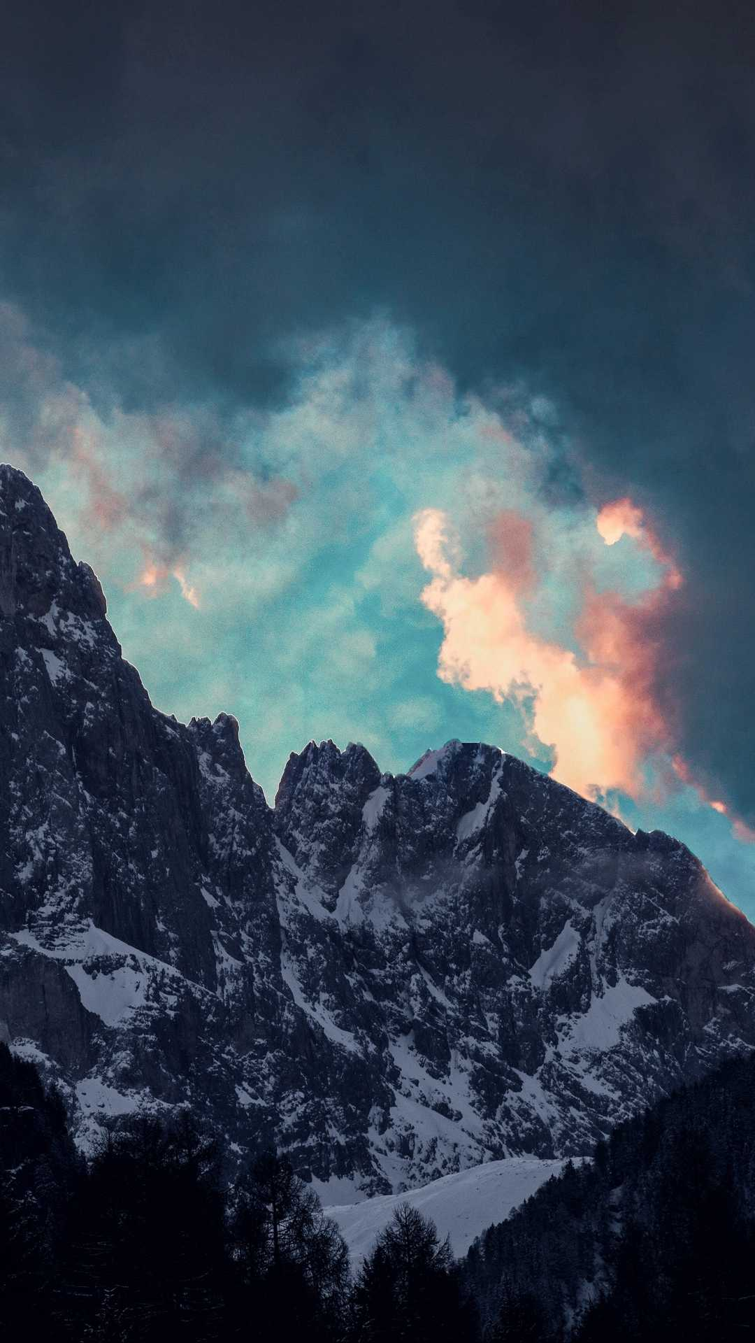 mountains clouds trees snow 119169 1080x1920 - Pack de Fondos de Pantalla de Montañas