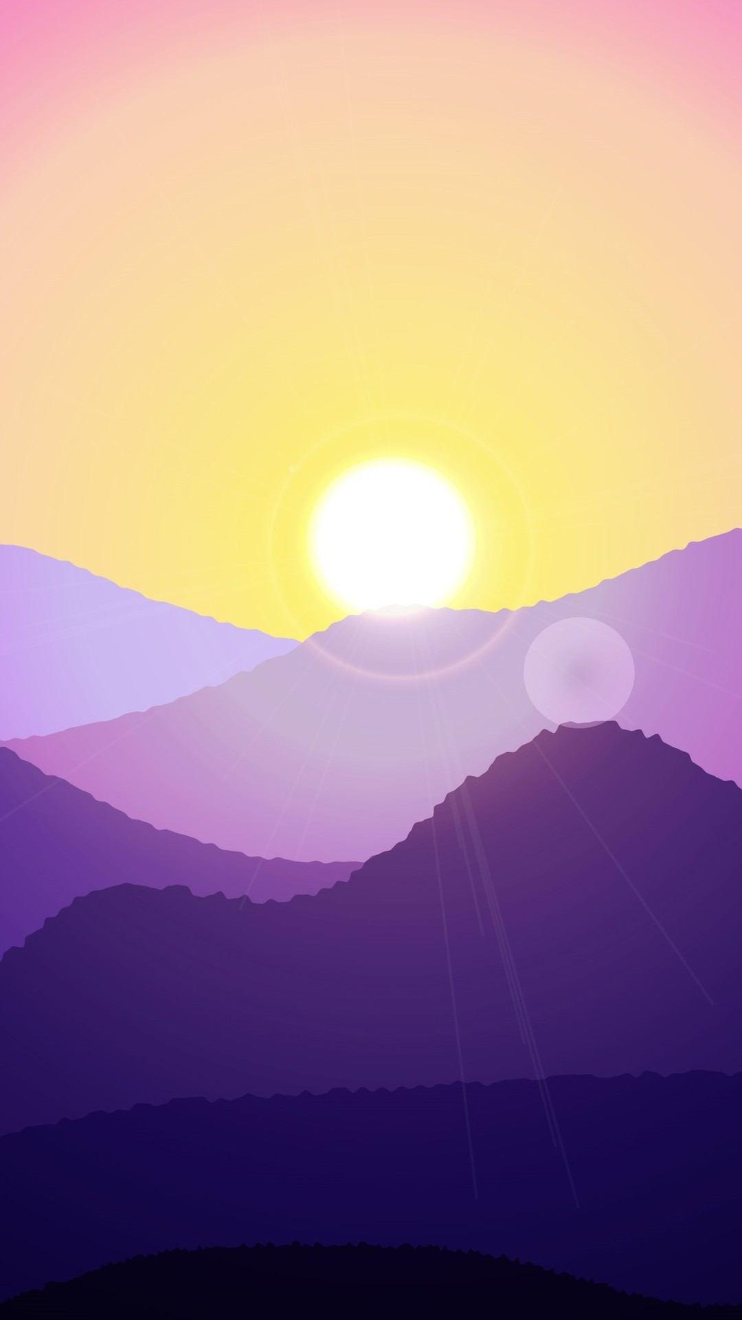 sunset mountain minimal art 4k yi 1080x1920 - Pack de Fondos de Pantalla de Montañas