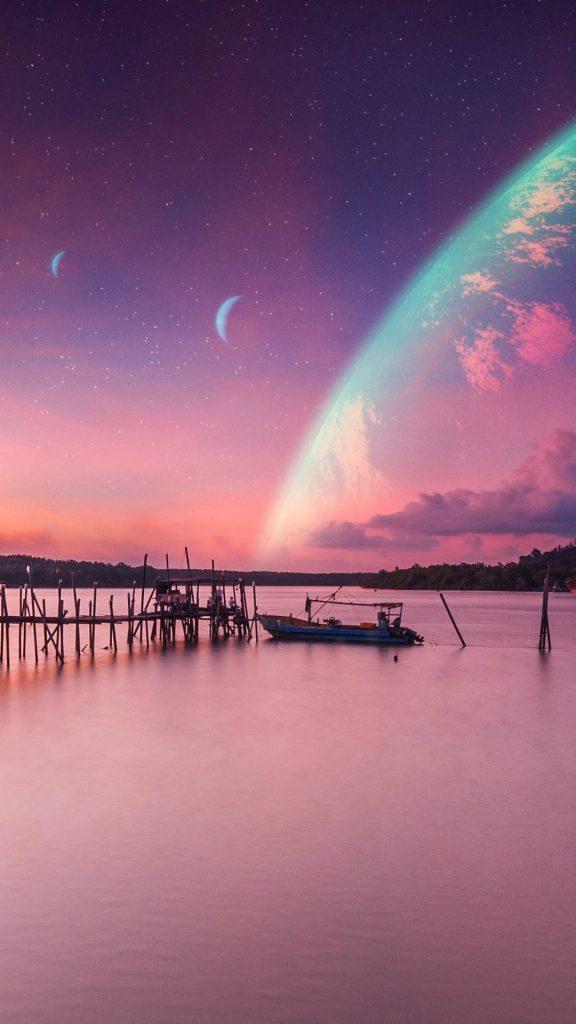 dawn 1080x1920 sunset pier sci fi planet 4k 19367 576x1024 - Los 25 Mejores Fondos de Pantalla mas votados de Marzo 2020
