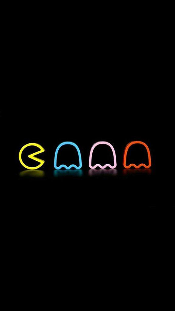 neon pacman 576x1024 - 27 Fondos de Pantalla Negros para ahorrar bateria