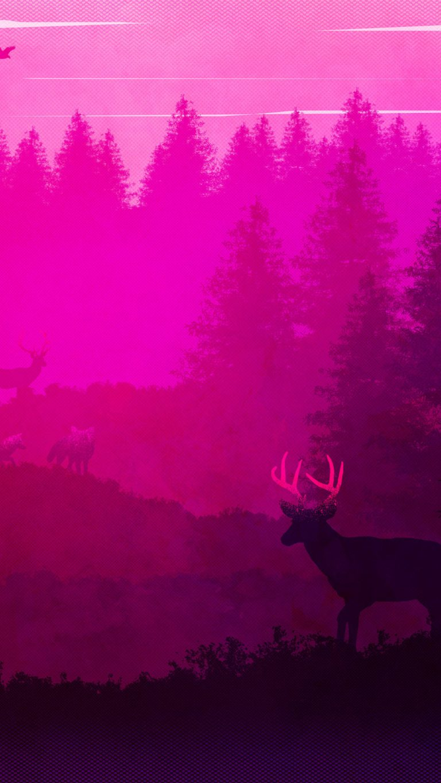 wild animals forest pink minimalism 5k 4y 1080x1920 1 768x1365 - +84 Fondos de Pantallas femeninos (para chicas)