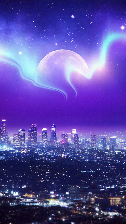 city skyline 5p 1080x1920 1 768x1365 - 25 Fondos de Pantalla Neón que harán ver tu pantalla increible
