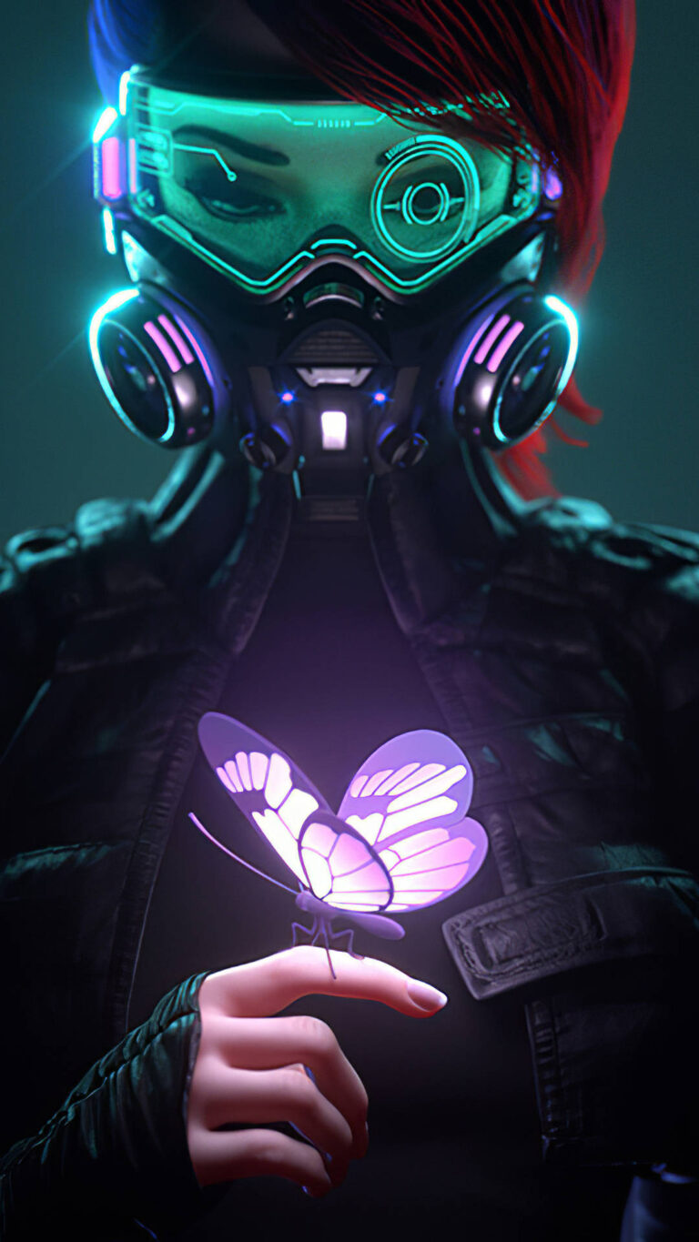 cyberpunk girl in a gas mask looking at the glowing butterfly landed on her finger 4k e7 1080x1920 1 768x1365 - 25 Fondos de Pantalla Neón que harán ver tu pantalla increible
