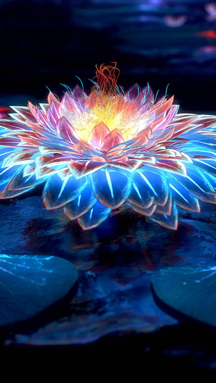 lotus flower digital art 4k zd 1080x1920 2 768x1365 - 25 Fondos de Pantalla Neón que harán ver tu pantalla increible