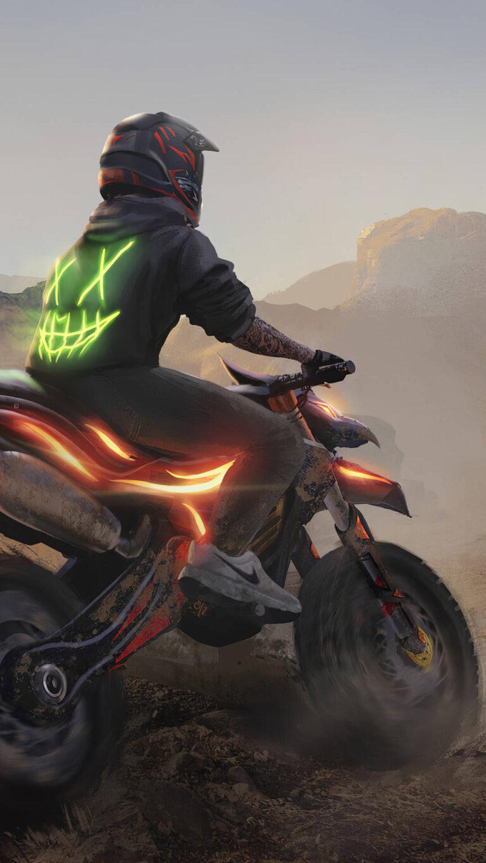 motocross madness 4k c7 1080x1920 1 768x1365 - 25 Fondos de Pantalla Neón que harán ver tu pantalla increible
