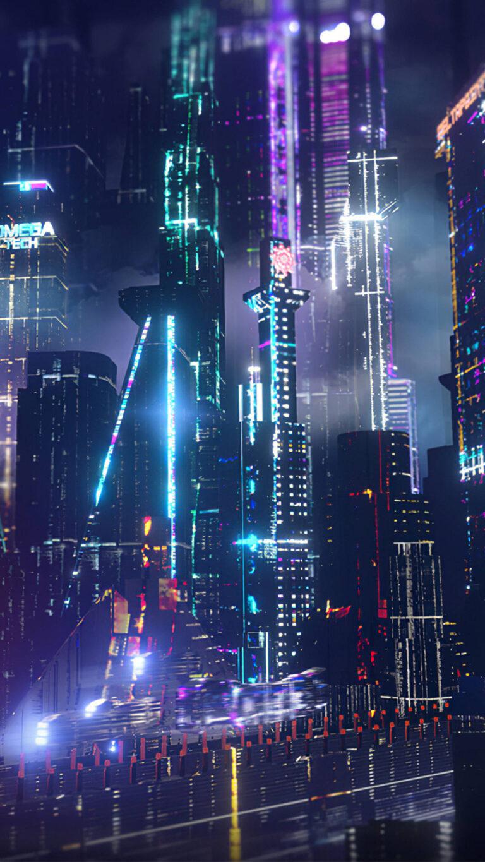 neon city lights 4k u3 1080x1920 1 768x1365 - 25 Fondos de Pantalla Neón que harán ver tu pantalla increible