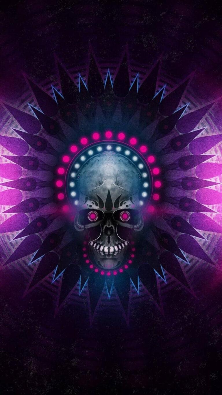 skull digital art 1080x1920 1 768x1365 - 25 Fondos de Pantalla Neón que harán ver tu pantalla increible