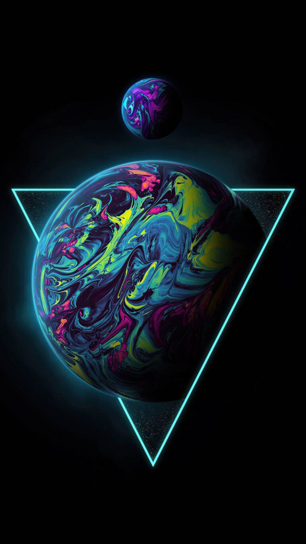 triangle planet 4k 4h 1080x1920 1 768x1365 - 25 Fondos de Pantalla Neón que harán ver tu pantalla increible
