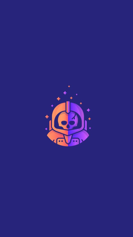astronaut in skull minimalism z0 1080x1920 1 768x1365 - Fondos de pantalla Full Color, Neón y Psicodélicos