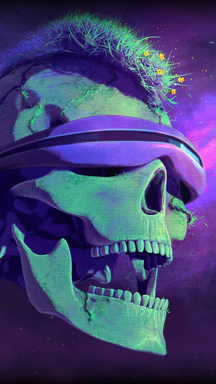 blindfold skull art 4k i4 1080x1920 1 768x1365 - Fondos de pantalla Full Color, Neón y Psicodélicos