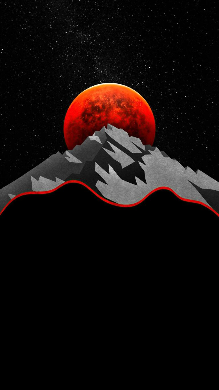 red sun between mountains minimal 5k 5b 1080x1920 1 768x1365 - Fondos de pantalla Full Color, Neón y Psicodélicos