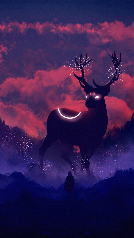 reindeer digital art fq 1080x1920 1 768x1365 - Fondos de pantalla Full Color, Neón y Psicodélicos