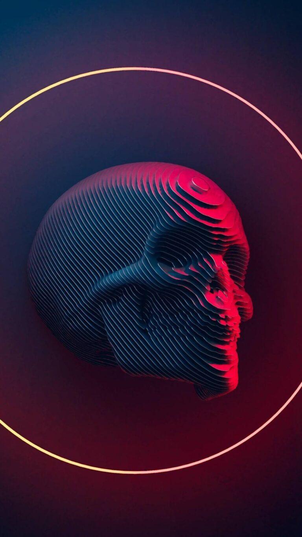 skull art 4k xc 1080x1920 1 768x1365 - Fondos de pantalla Full Color, Neón y Psicodélicos