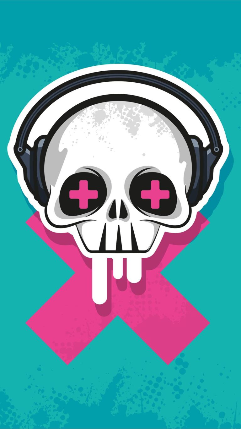 skull headphone art 4k gt 1080x1920 1 768x1365 - Fondos de pantalla Full Color, Neón y Psicodélicos