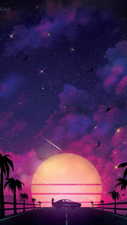 syth neon sunset 4k 10 1080x1920 1 768x1365 - Fondos de pantalla Full Color, Neón y Psicodélicos